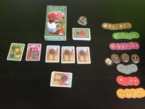 Componentes y caja de este precioso juego de mesa para dos, Jaipur.