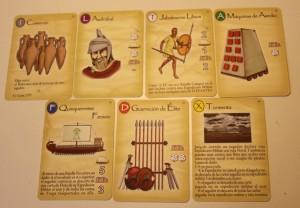 Los siete tipos de Cartas del juego de mesa Imperios del Mediterraneo