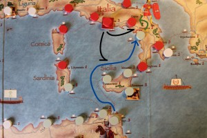Imperios del Mediterraneo, detalle del tablero