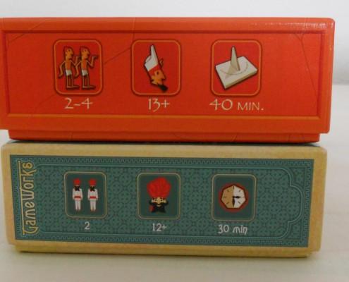 Iconos de información de los juegos de mesa Jaipur y Sobek